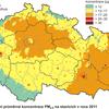 Pole ročních koncentrací PM2,5 v ČR v roce 2011, zdroj: ČHMÚ
