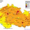 Mapa denních koncentrací PM10 v ČR 18.2.2015, zdroj: ČHMÚ