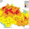 Mapa denních koncentrací PM10 v ČR 19.2.2015, zdroj: ČHMÚ