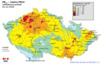 Pole denních koncentrací PM10, ČR, 1. 11. 2014, zdroj: ČHMÚ