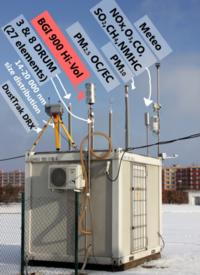 Snímek hlavní měřící stanice projektu CENATOX v MB s popisem funkce jeho vybavení, foto: Jan Bendl, PřF UK, 2013