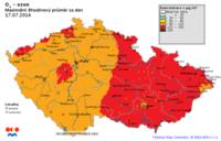 Pole maximálních osmihodinových koncentrací 03 v ČR- 17.7.2014- zdroj: ČHMÚ