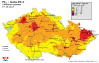 7.10.2013-Pole denních koncentrací PM10 v ČR, zdroj: ČHMÚ