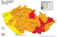 Mapa denních koncentrací PM10 v ČR 21.3.2015, zdroj: ČHMÚ