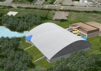 Jedna z možných variant posléze opuštěného projektu stavby akvacentra v areálu koupaliště na Rozvoji, zdroj: mb-net