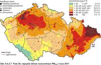 Obr.1a: PM 10 v ČR - Pole 36. nejvyšší denní koncentrace PM10 v roce 2011 (ČHMÚ)